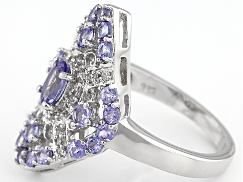 Blue tanzanite rhodium over silver ring 1.59ctw