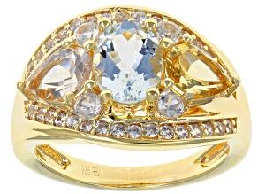 Blue Aquamarine 18k Gold Over Silver Ring 2.52ctw