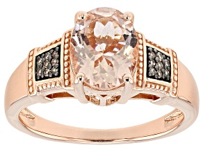 Pink morganite 18k rose gold over silver ring 1.46ctw