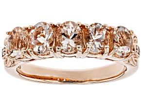Pink morganite 18k rose gold over silver ring 1.24ctw