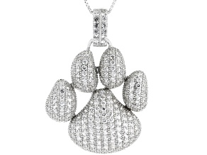 White Zircon Rhodium Over Silver Pendant with Chain 4.76ctw
