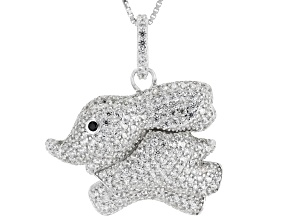 White Zircon Rhodium Over Silver Pendant with Chain 2.56ctw