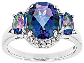 Blue Petalite Rhodium Over Sterling Silver Ring 2.86ctw