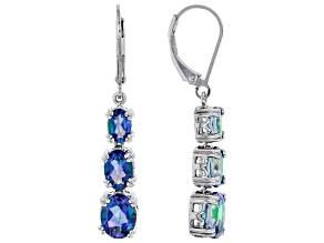 Blue petalite rhodium over sterling silver dangle earrings 3.66ctw