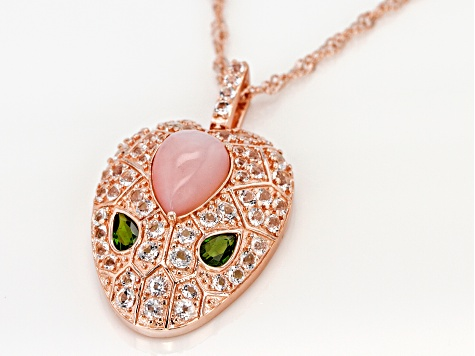 Pink Peruvian opal 18k gold over silver snake pendant with chain 2.18ctw