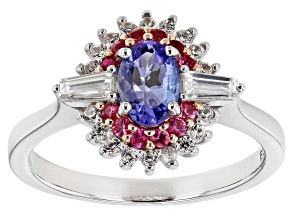 Blue Tanzanite Rhodium Over Sterling Silver Ring .94ctw