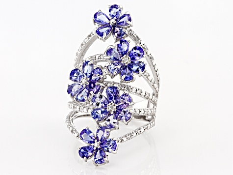 Blue Tanzanite Rhodium Over Sterling Silver Ring 3.34ctw