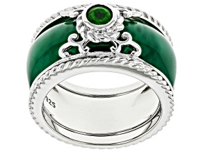Green Onyx Rhodium Over Silver 2-Ring Set .29ct