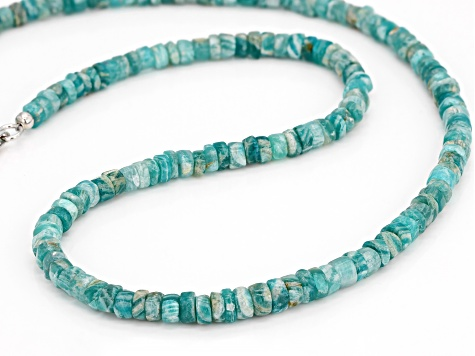 Green amazonite sterling silver necklace