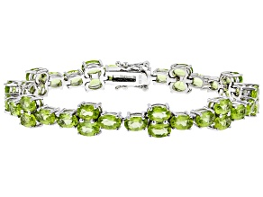Green peridot rhodium over silver bracelet 18.36ctw