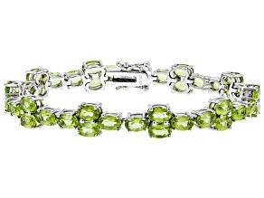 Green peridot rhodium over sterling silver bracelet 18.36ctw