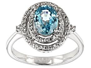 Blue Zircon Rhodium Over Silver Ring 1.95ctw