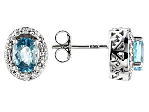 Blue Zircon Rhodium Over Silver Earrings 2.45ctw