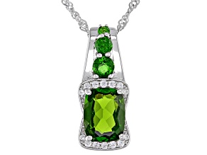 Green Chrome Diopside Rhodium Over Silver Pendant With Chain 2.38ctw