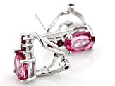 Pink Topaz rhodium over silver earrings 2.85ctw