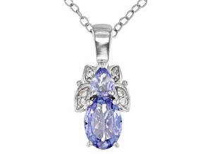 Blue tanzanite rhodium over silver pendant with  chain .81ctw