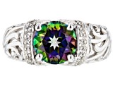 Green Mystic Fire(R) topaz rhodium over silver ring 2.21ctw