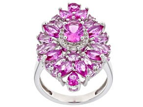 Pink lab created sapphire rhodium over silver ring 4.95ctw
