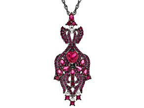 Red lab created ruby rhodium over silver pendant with chain 5.04ctw