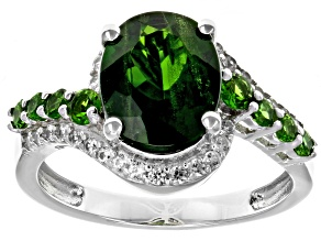 Green chrome Diopside rhodium over silver ring 2.70ctw