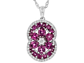 Purple Raspberry Color Rhodolite Rhodium Over Silver Pendant With Chain 4.00ctw