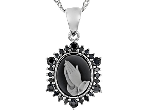 Black Agate praying hands Cameo Rhodium over silver Pendant With Chain .55ctw