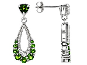 Green Russian Chrome Diopside Rhodium Over Sterling Silver Earrings 1.78ctw