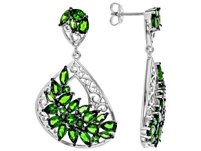 Green Russian Chrome Diopside Rhodium Over Sterling Silver Earrings 6.18ctw
