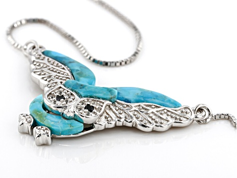 Blue turquoise rhodium over silver owl necklace .08ctw