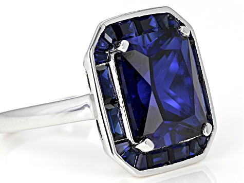 Blue lab created sapphire rhodium over silver ring 7.33ctw