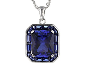 Blue lab created sapphire rhodium over silver pendant with chain 7.32ctw
