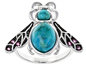 Blue Turquoise Rhodium Over Sterling Silver Bee Ring .08ctw