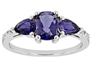Blue iolite rhodium over silver ring 1.27ctw