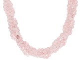 Pink rose quartz silver torsade necklace