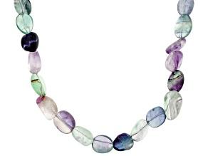 Multi-Color Fluorite Rhodium Over Sterling Silver Necklace