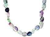 Multi-Color Fluorite Rhodium Over Sterling Silver Necklace