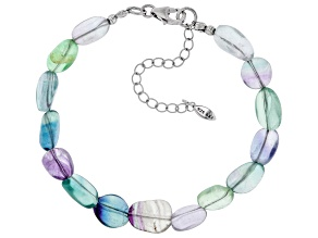 Multi-color Fluorite Rhodium Over Sterling Silver Bracelet