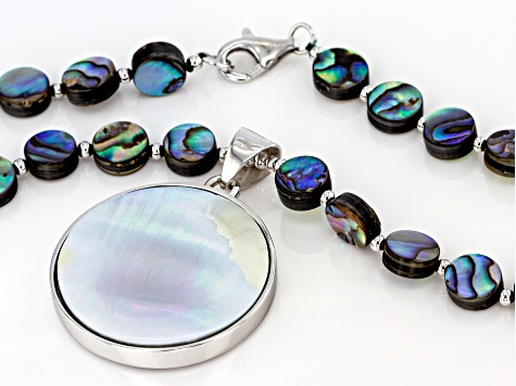 Multi-color abalone shell silver bead necklace