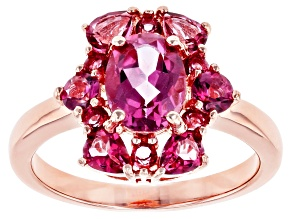 Pink topaz 18k rose gold over sterling silver ring 2.39ctw