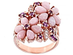 Pink Peruvian Opal 18k Rose Gold Over Silver Ring .58ctw
