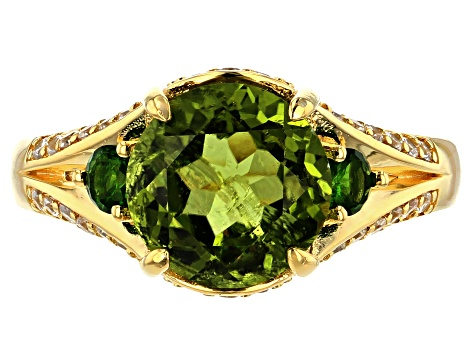 Green Peridot 18k Gold Over Sterling Silver Ring 2.97ctw