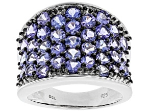 Blue tanzanite rhodium over sterling silver cluster band ring 3.26ctw