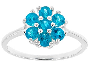Blue neon apatite sterling silver ring .64ctw