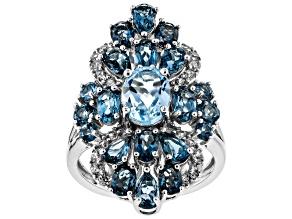 Sky blue topaz rhodium over silver ring 5.27ctw