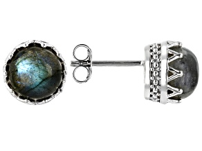 Gray Labradorite Rhodium Over Sterling Silver Earrings