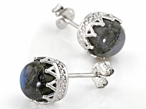 Gray Labradorite Rhodium Over Sterling Silver Earrings