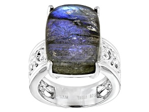 Gray Labradorite Rhodium Over Sterling Silver Ring
