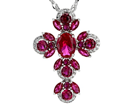 Red lab created ruby rhodium over silver cross pendant with chain 4.73ctw