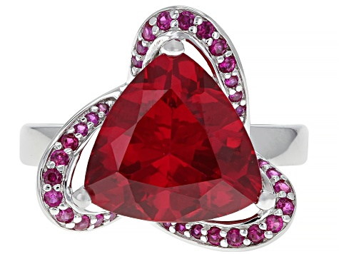 Red lab created ruby rhodium over silver ring 5.15ctw