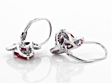 Red lab created ruby rhodium over silver earrings 3.24ctw